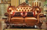 Sofá clássico do couro de madeira da sala de visitas (UL-NSC003)