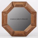 Espejo de pared redonda enmarcada americanos estilo de madera