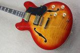 La musique Hanhai/Cherry sunburst 335 guitare électrique avec matériel d'or