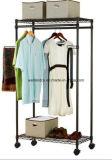 Porte-vêtement en maille blanche à 3 rangs bricolage avec roues
