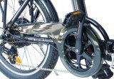 Grosse Energien-schnelle Stadt, die elektrisches Fahrrad faltet