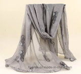 Fashion 100% Polyester Voile foulard avec conception Cat (HWBPS024)