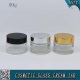 50ml effacent autour des chocs crèmes en verre cosmétiques avec des couvercles d'Alumite