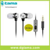 3.5mmの賃借りの3つのカラーのステレオの金属のシェルの耳のイヤホーン