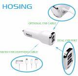 De Draadloze Snelle het Laden Dubbele Lader van uitstekende kwaliteit van de Auto USB met LEIDEN Embleem voor het Gebruik van iPhoneHuawei