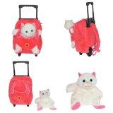Rosafarbenes Mädchen-Geschenk-Flusspferd-purpurroter Plüsch-Kind-Arbeitsweg-Laufkatze-Beutel