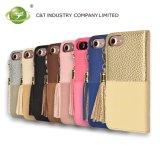 Caisse par la carte de crédit de pochette de C&T de caisse en cuir détachable de téléphone avec le gland pour l'iPhone 7