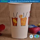 Taza de papel de consumición con la tapa para la bebida fría
