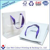 Sacchetto di acquisto bianco della carta kraft Di alta qualità su ordinazione con la stampa di marchio