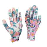 Fleur imprimé de polyester enduit à base de nitrile Dame Palm Garden Gants pour l'élagage