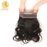 Pre общипанное закрытие 360 шнурков прифронтовое с закрытием 100% шнурка объемной волны человеческих волос волос младенца бразильским