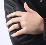남자를 위한 간단한 암청색 탄소 섬유 상감세공 반지