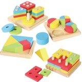 4 in 1 hölzerner pädagogischer Form-Farbe, die Puzzlespiele sortiert