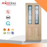 Porte en verre en bois de chêne solide de bois de construction
