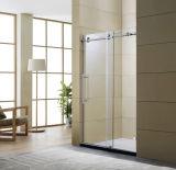 2017出入口を滑らせる熱い販売の大きいローラーのFramelessの滑走の緩和されたガラスのシャワーのドアのシャワー・カーテンのバイパス