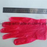 Rotes Wegwerfpuder-freie Vinylhandschuhe für Lebensmittelindustrie