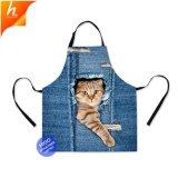 Забавных животных Cat джинсовой напечатано фартук хлопок кухня фартук