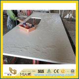 Bancada branca de pedra projetada da cozinha de quartzo para o projeto