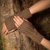 Lady's Finger-Less de gros bras de bonneterie de base plus chaudes de longs gants tricotés en acrylique