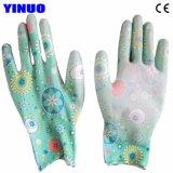 Handschoenen van de Hand van de Voering Pu van de polyester de Palm Met een laag bedekte Beschermende Industriële Werkende
