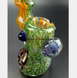 Grünes Muster des Glasrauch-Rohr-Filter-Tabaks, der Rohr aufbereitet