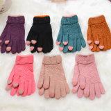 De zoete Roze Jacquard van de Handschoen van het Scherm van de Aanraking Warme breit de Handschoen van Vrouwen. In het groot