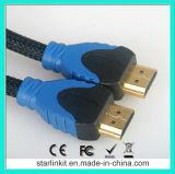 고속 HDMI 케이블 3D 4k 금에 의하여 도금되는 까만 파랑
