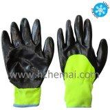 La doublure acrylique thermique a enduit des gants de travail de sûreté de l'hiver de nitriles de mousse
