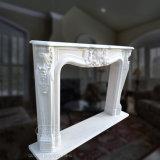 Estilo Roccoco francês lareira em mármore branco com alta qualidade de escultura de Mantel