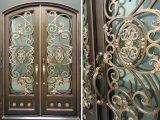 La meilleure porte extérieure fabriquée à la main de fer travaillé avec la traverse