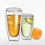 二重壁のコーヒーカップのガラスエスプレッソのコップのガラスミルクのコップ