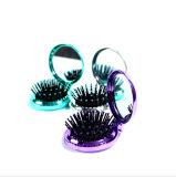 Las ventas de Hot Pop-up Mini Peine el pelo, espejo de maquillaje con colores cromo redondo cepillo de pelo de bolsillo plegable