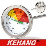 """Structure solide thermomètre indicateur de température du sol de compost 20 """" tige en acier inoxydable Fahrenheit cadran de température Celsius"""