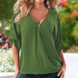 Form-Frauen-Sleeves Chiffon- beiläufiger Reißverschluss V-Stutzen Verband Shirt-Bluse