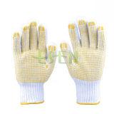Поставленные точки PVC перчатки хлопка, хлопок поставленные точки перчатки, поставили точки перчатки