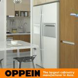 Armário simples moderno da cozinha da melamina da grão da cor clara e da madeira (OP15-M07)