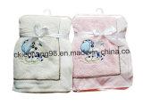 Микро мягких коралловых подкладка из флиса с Embordery детское одеяло животных