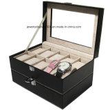 Memoria della visualizzazione dell'accumulazione dei monili del cuoio del contenitore di regalo dell'orologio della scanalatura