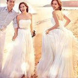 2017 без бретелек Waistband Pleat шнурует вверх линию напольное платье приема по случаю бракосочетания