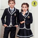 소년과 소녀를 위한 진한 파란색 초등 학교 제복 디자인