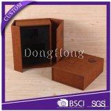 De alta gama de almacenamiento de cuero PU caja de vino con caja de embalaje de vidrio