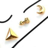 O ouro chapeou brincos ajustados do parafuso prisioneiro do Rhinestone da geometria bonito