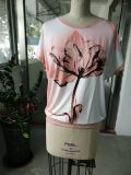 Vestiti belli della maglietta del fiore di colore rosa di modo di fine dell'estate