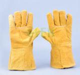Gant fonctionnant chaud de main de cuir fendu de vache à qualité de vente/gant en cuir fonctionnant