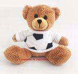 견면 벨벳 장난감 곰 백색 공 t-셔츠를 가진 귀여운 견면 벨벳 장난감 곰