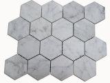 Het hoge Witte Mozaïek van Bianco Carrara van de Tegel van de Vloer van Carrera van de Verkoop Marmeren Hexagon