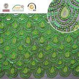 2017 hohes Qlty Sequin-Gewebe-Fantasie-Pfau-Grün-Polyester-Ineinander greifen 157