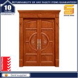 Porte de panneau double en bois de teck / acajou en entrée avant
