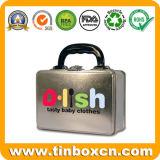 食糧のためのプラスチックハンドルが付いている長方形の昼食の錫の箱および止め金、金属の包装ボックスおよびギフト、ベティのカスタム容器