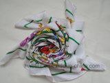 Sciarpa d'imitazione di seta del quadrato del poliestere della saia di Flourish di promozione (HWBS015)
